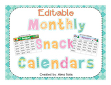 Editable Monthly Snack Calendars 2016-2017