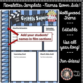 "Hollywood/Movie ""Cute Editable Newsletter with Students' N"