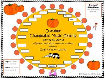 Editable Music Seating Chart for October
