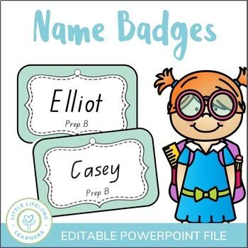Aqua Editable Name Badges  - Back to School Name Tags