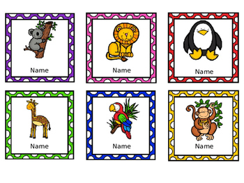 Editable Name Badges / Tags - Animals