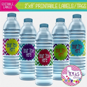 Water Bottle Labels - Neon Chevron {EDITABLE}