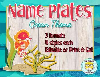 Editable Name Plates - Ocean Theme