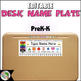 Editable Name Plates and Matching Homework Helper for PreK - K