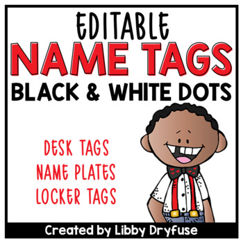 Editable Name Tags {Black & White Tiny Dots}