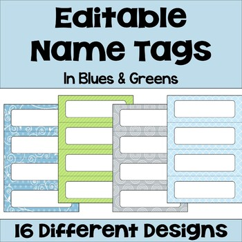 Editable Name Tags & Desk Plates in Blue & Green with Owls