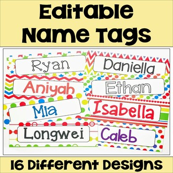 Editable Name Tags & Desk Plates in Bright Colors