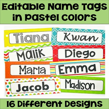 Editable Name Tags & Desk Plates in Pastel Colors