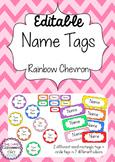 Editable Name Tags ~ Rainbow Chevron