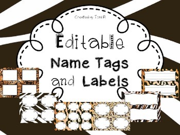 Editable Name Tags and Labels with Animal Print Themes