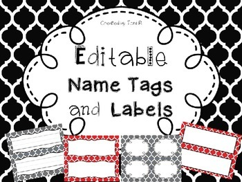 Editable Name Tags and Labels with Red, Black, and Gray Mo
