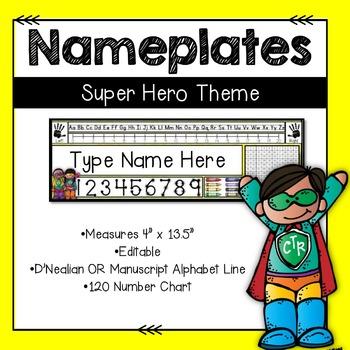 Super Hero Nameplates --Editable