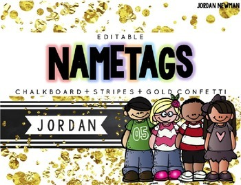 Editable Nameplates or Labels - Chalkboard, Stripes, Gold