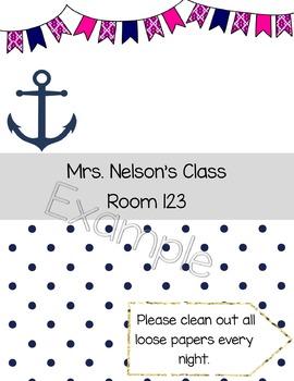 Editable Nautical Binder Cover {Confetti and Creativity Clip Art}