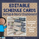 Editable Navy and Burlap Schedule Cards
