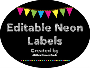 Editable Neon Classroom Labels