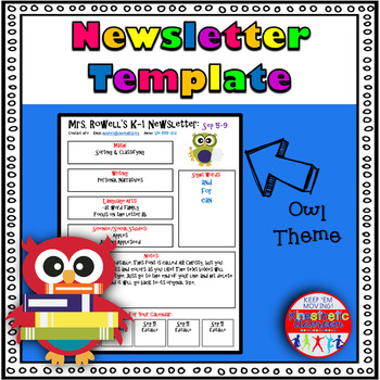 Editable Newsletter Template - Owls