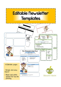 Editable Newsletter Templates: Monkey Themed