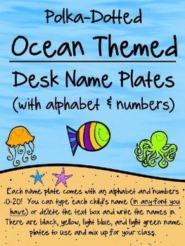 Editable Ocean Themed Desk Name Plates w/Alphabet and Numb