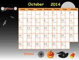 Editable October 2014 SmartBoard Calendar