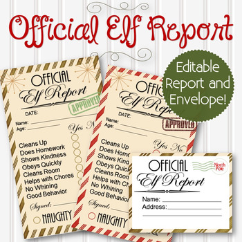 Editable Official Elf Reports