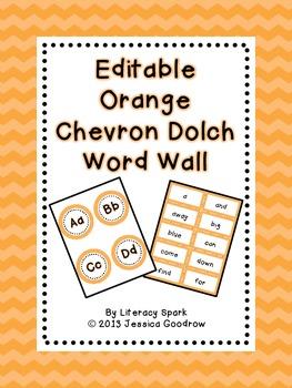 Dolch Word Wall - Orange Chevron {Editable}