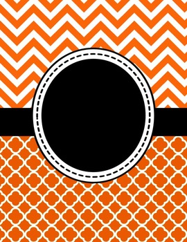 Editable Orange Chevron and Quatrefoil Binder Cover and Sp