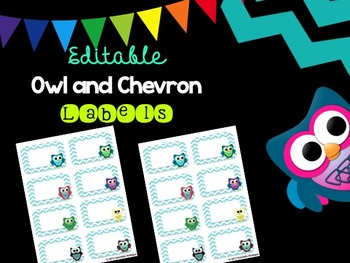 Editable Owl and Blue Chevron Labels (Small, Avery 2x4)