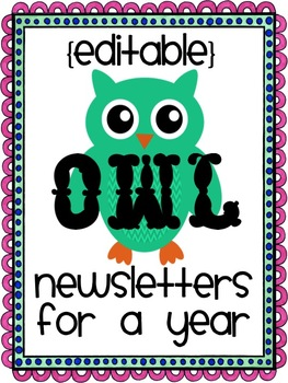 Editable Newsletters for a Year: Owls
