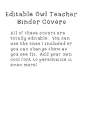 Editable Owl Teacher Binder Covers