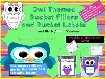 Editable Owl Themed Have You Filled a Bucket Today Labels