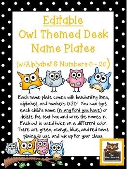 Editable Owl and Polka Dot Themed Name Desk Plates w/Alpha