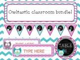 Editable Owl theme classroom bundle