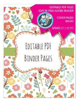 Editable PDF Teacher Binder Cover - Super Easy to Edit, Co