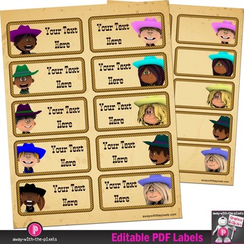 "Editable PDF Western Cowboy Classroom 4"" x 2"" Labels Plus"