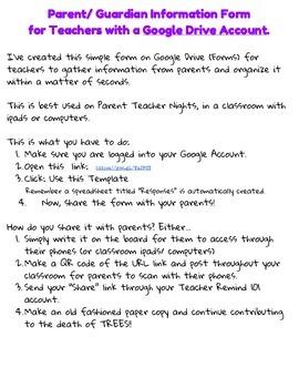 Editable Parent Contact Form  for Teachers with a Google D