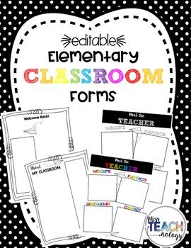 Editable K-5 Classroom Forms