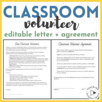 Editable Parent Volunteer Information Letter and Agreement
