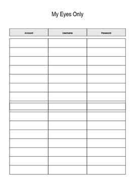 Editable Password Sheet