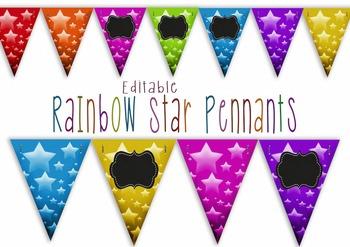 Editable Pennants - Rainbow Stars