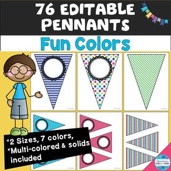 "Editable Pennants in ""Fun Colors"""