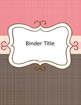 Editable Pink & Brown Binder Cover