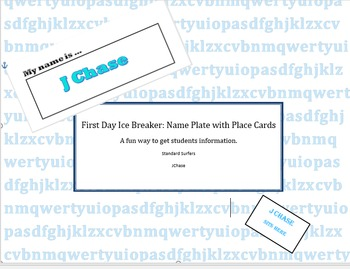 Editable Place Cards and Name Plate Ice Breaker For the Fi