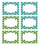 Editable Polka Dot Blank Multipurpose Tags Labels (Blue & Green)