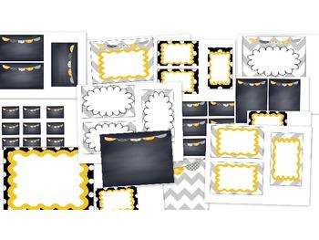Editable Polka Dot, Chalkboard and Chevron Labels
