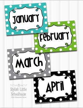 Editable Polka Dot Multipurpose Word Wall Cards 7x5 (Blue