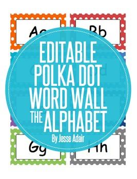 Editable Polka Dot Word Wall The Alphabet