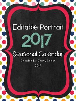 Editable Portrait 2017 Seasonal Calendar