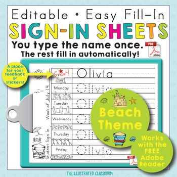 Morning Work Name Writing Practice Sign In Sheets - Beach Theme