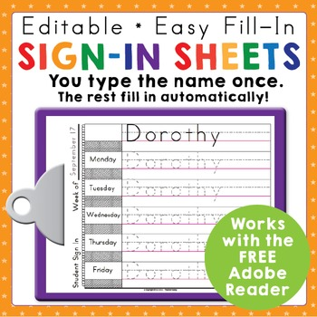 Morning Work Name Writing Practice Sign In Sheets - Multi-